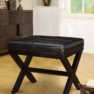 Adeco Black Bonded Leather Ottoman/ Footrest with X-shaped Legs|https://ak1.ostkcdn.com/images/products/P16625375a.jpg?impolicy=medium