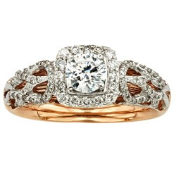 Sofia 14k Two-tone 1ct Round-cut White Diamond Ring (H-I, I1-I2)