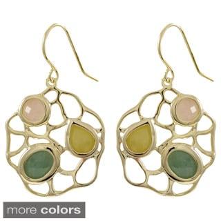 Sterling Silver Multi-colored Gemstone Filigree Dangling Earrings