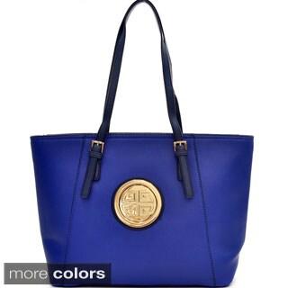 Dasein Two-tone Emblem Tote Handbag