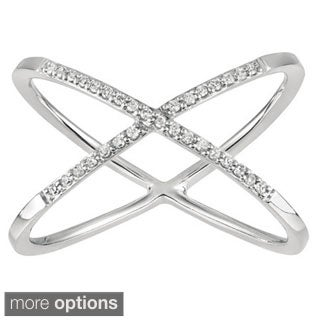 Sterling Silver Diamond 'X' Ring