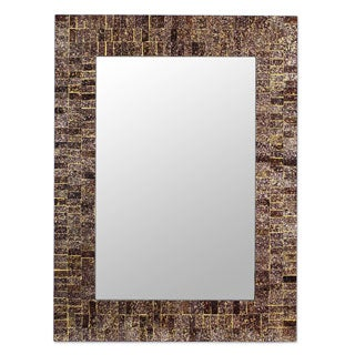 Golden Fireflies Shades of Brown Gold Maroon Glass Tile Mosaic Contemporary Accent Vertical or Horizontal Wall Mirror (India)
