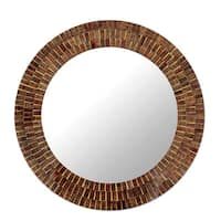 Mumbai Maze Shades of Brown Gold and Maroon Glass Tile Mosaic Art Work Decor Accent Contemporary Round Wall Mirror (India)