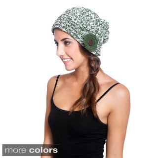 Women's Flower Applique Knit Hat (Nepal)