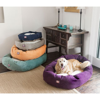 Majestic Pet Villa Collection Faux Velvet and Sherpa Bagel-shaped Pet Bed