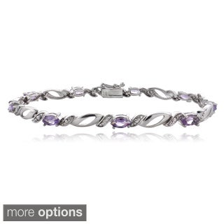 Glitzy Rocks Sterling Silver Gemstone and Diamond Accent Marquis Link Bracelet