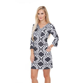 White Mark Women's 'Augusta' Moroccan Print Dress