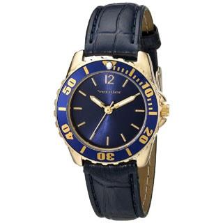 Vernier Women's Genuine Leather Blue Embossed Diver Watch