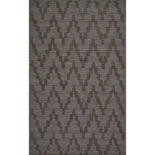 "Grand Bazaar Hand Woven 100-percent Wool Pile Rigby Rug in Charcoal 2'-6"" x 8'"