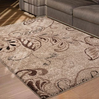 Carolina Weavers Comfy and Cozy Grand Comfort Collection Oatmeal Beige Shag Area Rug (5'3 x 7'6)