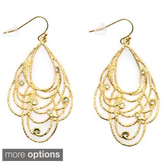 De Buman Gold Plated Crystal Dangle Earrings