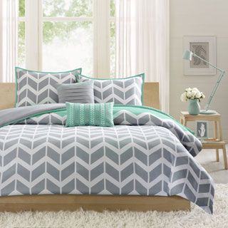 Intelligent Design Laila Teal Chevron Print 5-Piece Microfiber Duvet Cover Set