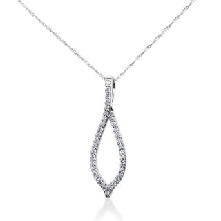 SummerRose 14k White Gold 1/3ct TDW Diamond Wishbone Pendant Cable-chain Necklace (G-H, SI1-SI2)