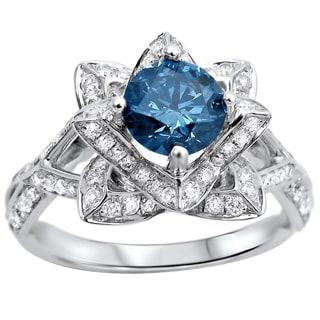 14k White Gold 1 3 5ctw Blue Round Diamond Lotus Flower Engagement Ring