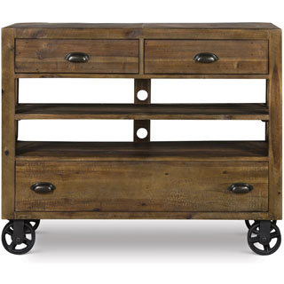 Magnussen River Ridge Wood Media Chest with Casters