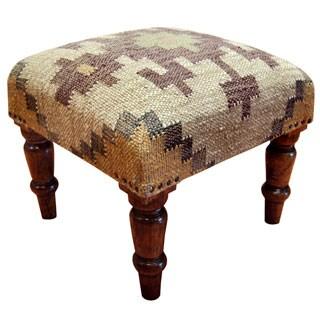 Herat Oriental Herat Oriental Handmade Indo Kilim Upholstered Footstool (India)