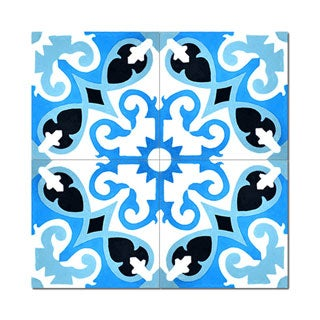 Agdal Royal Blue Handmade Moroccan 8 x 8 inch Cement and Granite Floor or Wall Tile (Case of 12)