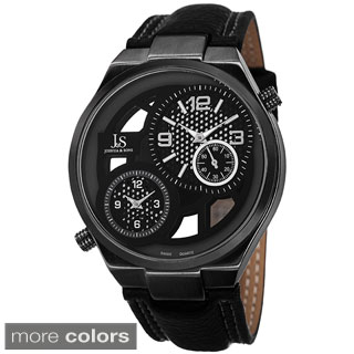 Joshua & Sons Men's Swiss Quartz Dual Time Leather Black Strap Watch with FREE GIFT
