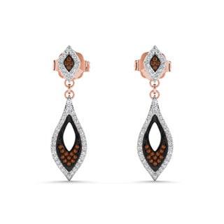 De Couer 10k Rose Gold 1/3ct Diamond Pave Drop Earrings (H-I, I2)