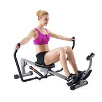 Sunny Health & Fitness SF-RW1410 Rowing Machine Rower with Full Motion Arms and LCD Monitor - Black