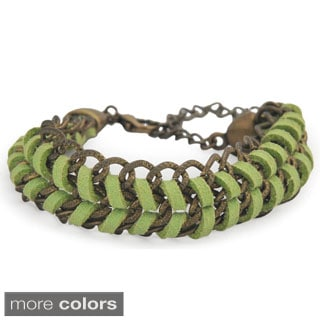 Mumford Micro-suede and Brass Link Bracelet (Bolivia)