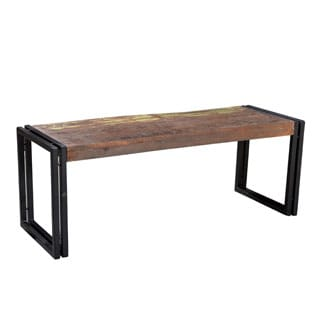 Timbergirl Old Reclaimed Wood Bench with Metal Legs (India)