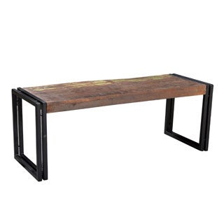 Handmade Timbergirl Old Reclaimed Wood Bench with Metal Legs (India)