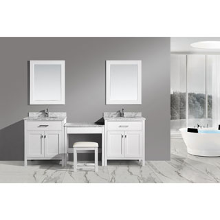 Design Element Two London White 30-inch Single Sink Vanity Set with Make-up Table
