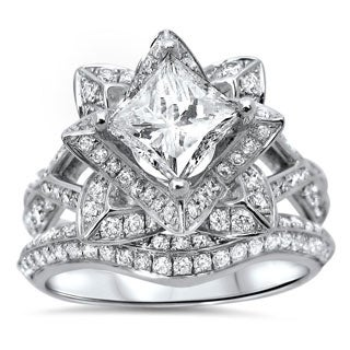 Noori 14k White Gold 1 4/5ct TDW Certified Clarity-enhanced Diamond Lotus Flower Bridal Ring Set