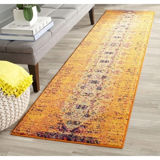 Safavieh Monaco Modern Abstract Orange/ Multi Rug (2'2 x 8')