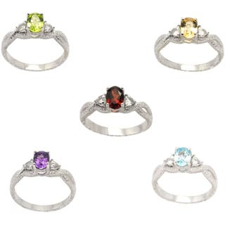 De Buman Sterling Silver Genuine Garnet, Peridot, Citrine, Amethyst or Sky Blue Topaz Gemstone Ring