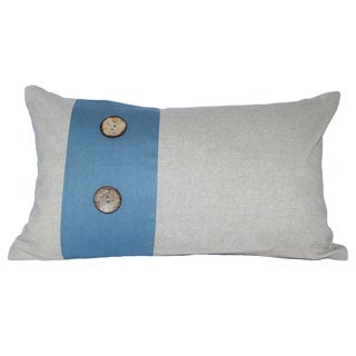Decorative Blue Panel and Wooden Button Cotton Throw Pillow Cover