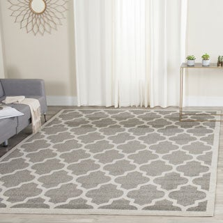 Safavieh Indoor/ Outdoor Amherst Dark Grey/ Beige Rug (9' Square)