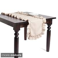 Ruffled Design Linen Table Runner or Tablecloth