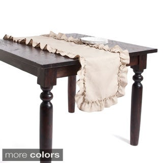 Ruffled Design Linen Table Runner or Tablecloth (3 options available)
