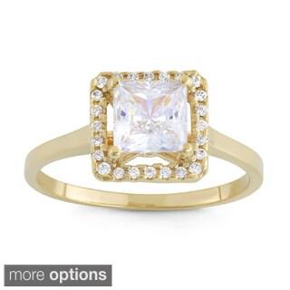 Gioelli 10k Gold Princess-cut Cubic Zirconia High Polish Ring