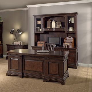 Drake 72-inch Executive Desk, Credenza with Hutch, Lateral File and Chair