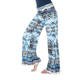 White Mark Women's Multi-print Palazzo Pants