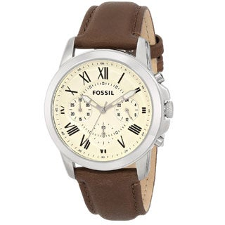 Fossil Men's Grant FS4839 Brown Leather Quartz Watch with Beige Dial