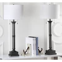 Safavieh Lighting 35.25-inch Estilo Column Silver Grey Table Lamp (Set of 2)