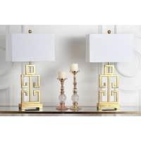 "Safavieh Lighting 28.75-inch Greek Key Antiqued Gold Table Lamp (Set of 2) - 16"" x 9"" x 29"""