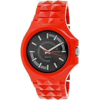 Diesel Men's Red Plastic Analog Quartz Watch with Black Dial