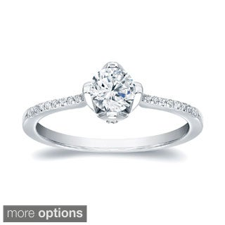Auriya 14k Gold 4/5ct TDW Certified Round Diamond Engagement Ring (H-I, SI1-SI2)