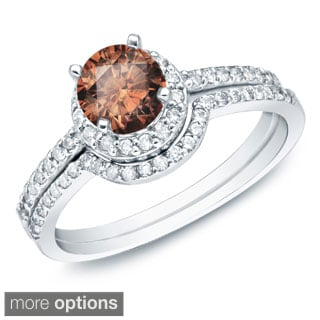 Auriya 14k Gold 1ct TDW Brown Round Diamond Bridal Ring Set (SI1-SI2)