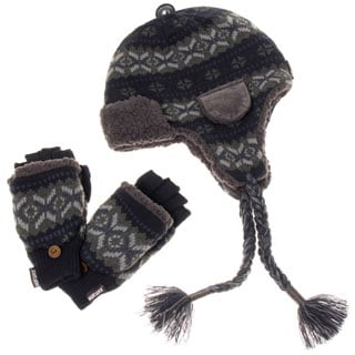 Muk Luks Men's Trapper Hat and Flip Mitten Set