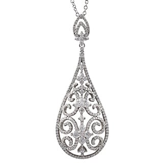 Luxiro Luxiro Sterling Silver CZ Filigree Teardrop Necklace