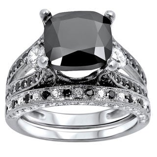 Noori 14k White Gold 4 2/5ct Black and White Cushion-cut Diamond Bridal Ring Set (F-G, SI1-SI2)