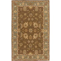 Hand-Tufted Feng Bordered Wool Rug - 6' x 9'