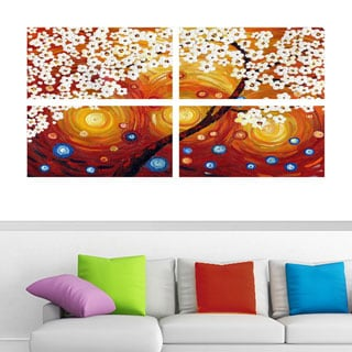 Abstract 'Warm Orange & Red Flower' 4-piece Canvas Art