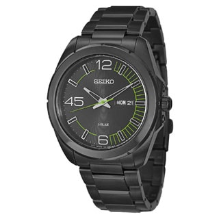 Seiko Men's SNE275 Black Stainless Steel Solar Watch